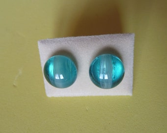 Glass Stud Earrings Surgical Steel Hypoallergenic Aqua/Turquoise Marble Affect Handmade
