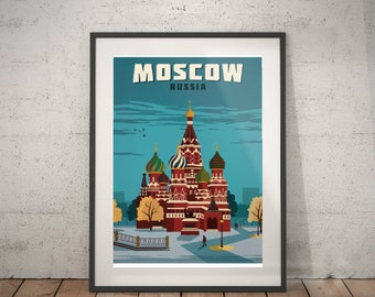 moscow, moscow travel poster, wall decor, vintage