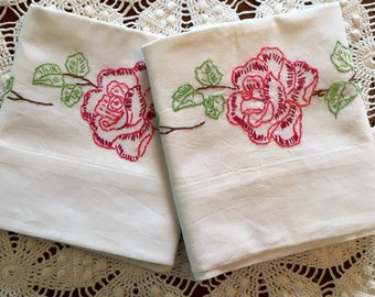 SALE Vintage Embroidery Pillow Cases - Pink Red Roses Flower Garland Pillowcases, Pair - Green Red Blue Pink - New Unused - Crisp Cotton Mus