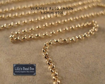 Gold Rolo Chain, Vermeil 1.6mm Rolo Chain, By the Foot, Jewelry Necklace Chain, Footage Chain, Jewelry Supplies (970i)