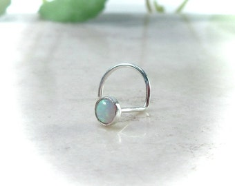 Sterling Silver 17 Opal Nose Screw 3mm - White Opal Nose Stud, Opal Nose Stud, Gemstone Nose Stud, 3mm Nose Stud, Silver Nose Screw