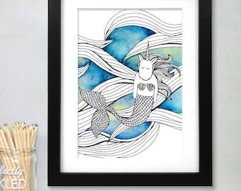 Watercolour Mermaid Unicorn Print