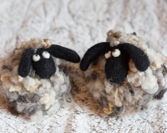 Black and Grey Decorative Sheep, made of needle felted wool - Ornament