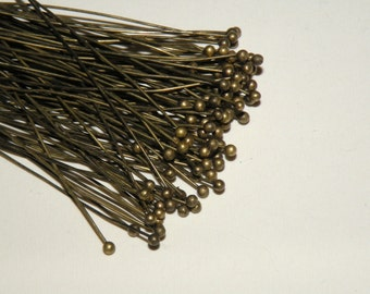 "100 Ball head pins Antique Bronze 2"" or 5cm 24 gauge PRP0-AB"