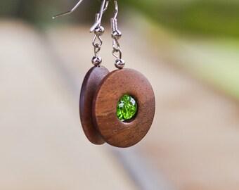 wooden earrings, wooden jewelry, wooden earrings, gift for her, walnut wood earrings, walnut earrings, walnut jewelry,