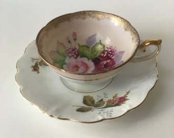 Mis-matched Antique Tea Cup and Saucer Set - Porcelain - Demitasse - Vintage - English - Coffee cup