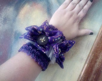 Steampunk wrist cuff bracelet Statement cuff Purple cuff Fabric bracelet Fabric jewelry Boho cuff bracelet Boho wrist cuff Cloth bracelet