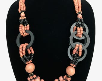 Vintage African Caribbean Inspired Necklace and Pierced Earrings Set