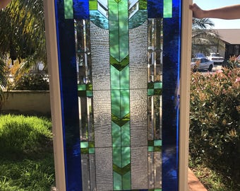 """Triple paned and framed!!  The """"Magnificent Blue Mission"""" Stained Glass Window Panel (we do custom work, email me for quote)"""