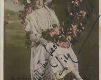 Stage+film+actress+Lily+Maxwell+hand+tinted+antique+signed+rppc+photo