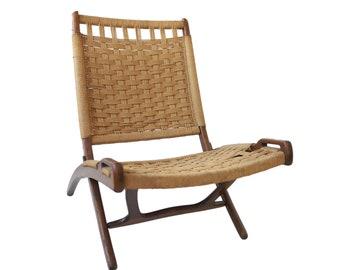 Vintage Hans Wegner Style Rope Folding Lounge Chair