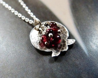 Pomegranate necklace garnet silver pendant, handmade jewelry, Valentines day gift, affordable, gift under 50, 50th birthday gift
