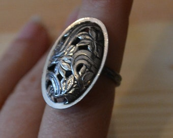 Bold antique victorian art noveau style sterling silver adjustable ring with floral design / flower ring / beau ring / NDUDKI