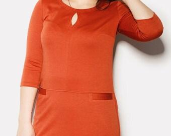 Orange Plus Größe Büro, Lagenlook Kleid, einfache Viskose Kleid, Knielanges Kleid XL, 2XL versandkostenfrei