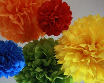 Tissue Pom Poms -Set of 5- Your color choice - Rainbow - Sesame Street - Primary Color Party