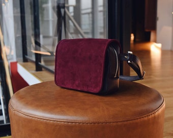 Transform Your Bag   Red Wine Leather and Suede Waist Bag, Hip Bag, Belt Bag, Fanny Pack