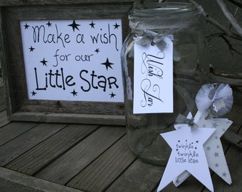 Twinkle Twinkle little star Baby Shower- Guest book alternative --Twinkle Twinkle- Tagbook, Wish Jar Tag and Sign- Silver and White