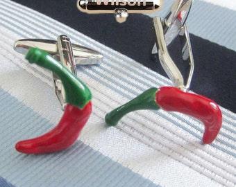 Red Chili Pepper Cufflinks,gift custom Cufflink,Red Hot Hanging Chili Peppers Cufflinks, Chili Cuff Links, Hot Pepper, Custom Wedding