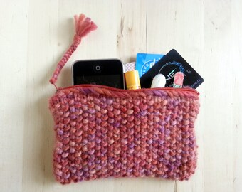 Knit Zippered Pouch/Wallet in Pink & Peach