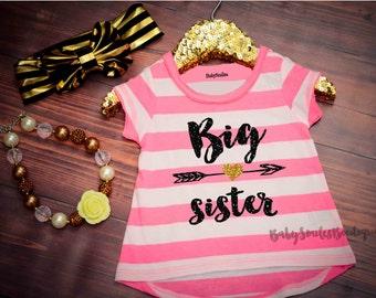 Big Sister Shirt Little Sister Shirt Sibling Shirts Girl Shirts Baby Announcement Shirt Pregnancy Announcement Gold Glitter Mint Pink Shirt