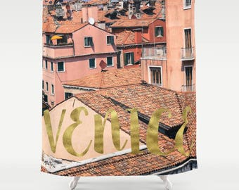 Pink and Gold Venice Shower Curtain, Italy Shower Curtain, Italy Decor, Girls Bathroom Decor, Girls Shower Curtain, Italy Photography