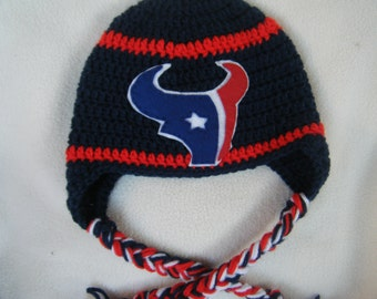 Crocheted Texan's Inspired or (Choose your team)  Football Helmet Baby Beanie/hat - Made to Order - Handmade by Me