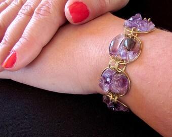 Gorgeous violet circles bracelet made of bronze and amethyst gemstones