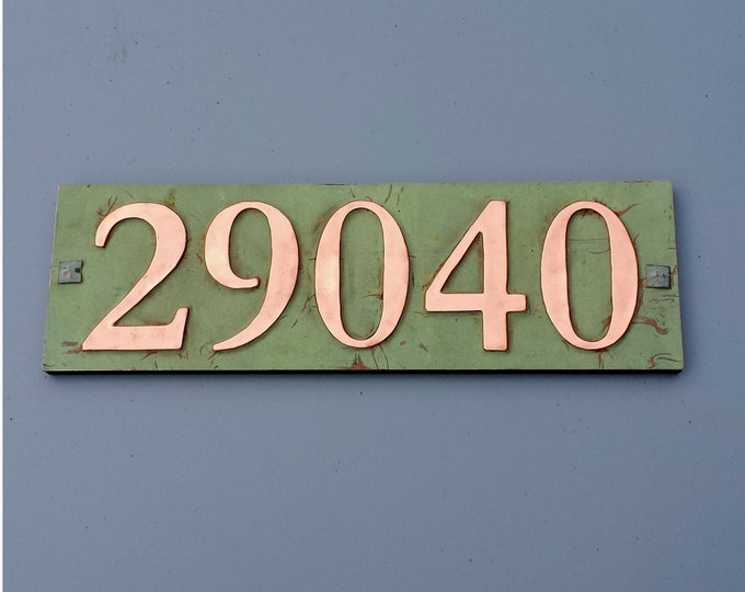 "Copper house address plaque 3""/75mm, 4""/100 mm, with plywood back, 5 x nos. custom made, screw fitting for stucco, brick or timber g"