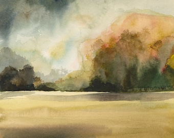 """landscape painting, earth tones, natural, decor,watercolor, wall art- """"Autumn Day No. 2"""" Limited Edition Print"""