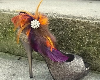 Wedding Bridal Shoe Clips - Deep Purple Brown Tan Burnt Orange Autum Wedding, Fall, feather shoe clips, wedding shoe clips fall wedding