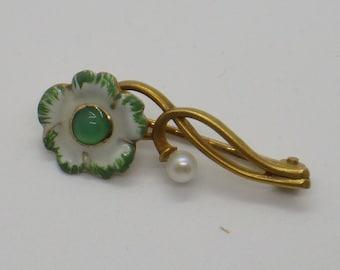 14K Enamel Bippart Art Nouveau Flower Brooch