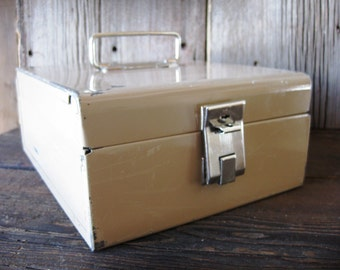 SALE - Vintage Tan Metal Industrial File Box Made in Chicago IL, USA