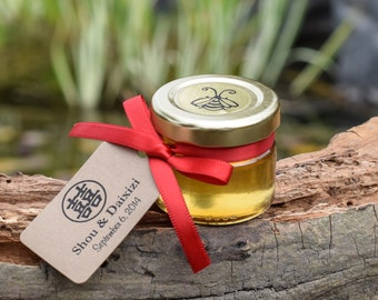 Set of 27 - Chinese Wedding Favors - Honey Jars & Custom Tags - Double Happiness Symbol and Red Ribbon