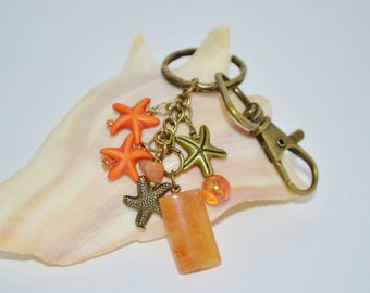 Keychain Swivel Clip Star Fish, Orange Semi Precious Stone Keychain, Starfish Keychain, Orange Starfish Purse Clip, Orange Stone Clip