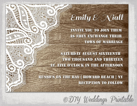 Rustic Wedding invitation template Wood Lace