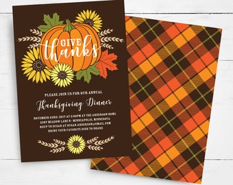 Thanksgiving Invitation Template, Give Thanks, Thanksgiving Feast, Thanksgiving Party, Thanksgiving Dinner, Rustic, Pumpkin, Fall