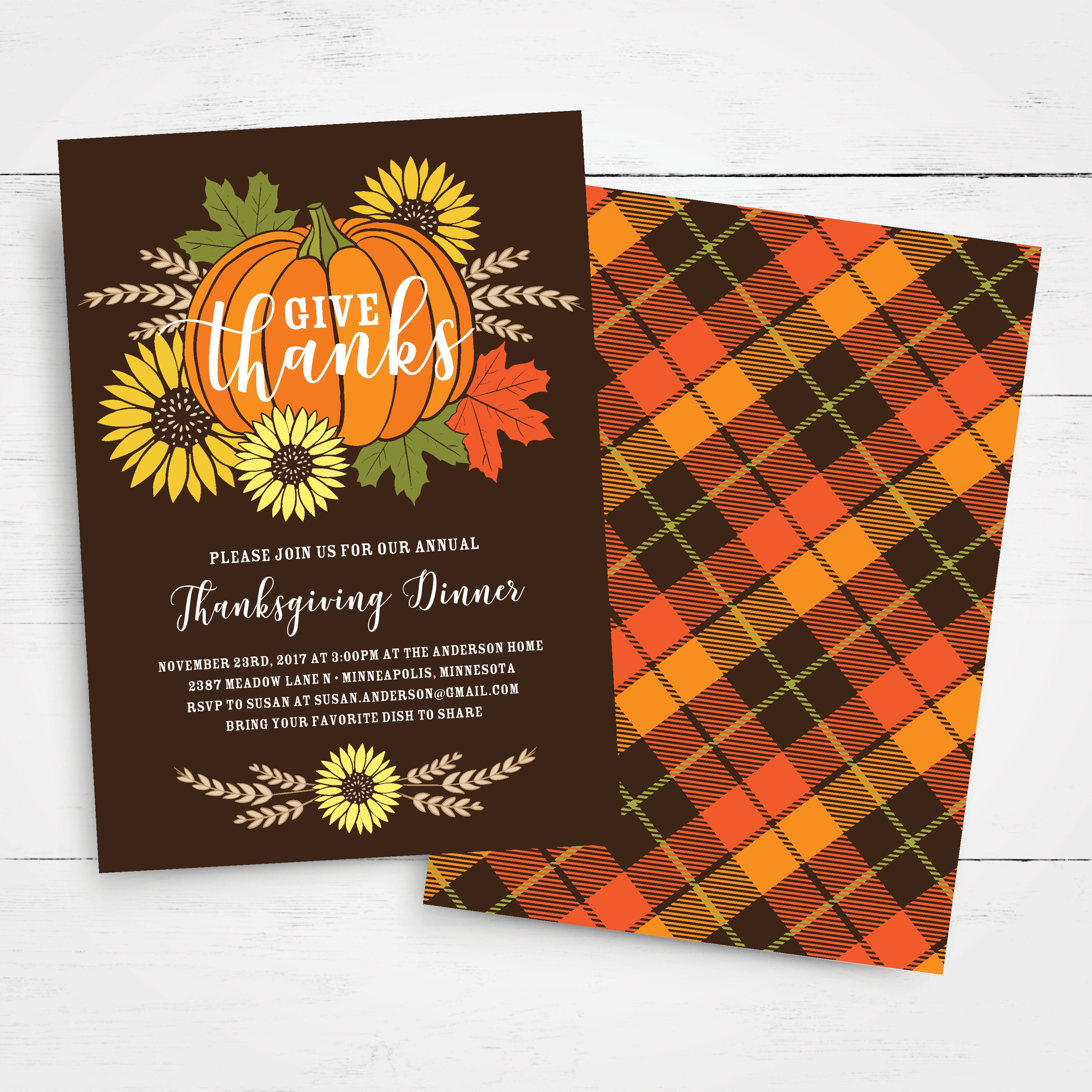 Thanksgiving Invitation Template Give Thanks Thanksgiving Feast - Thanksgiving party invitation templates
