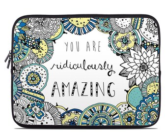 Laptop Sleeve Bag Case - You Are Ridic by Susan Claire - Neoprene Padded - Fits MacBooks + More