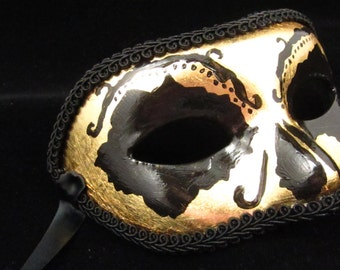 La Muerte de Oro Mask, Gold and Black Day of the Dead/Dia de los Muertos Style Eyemask