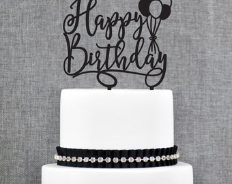 Birthday Cake Topper, Happy Birthday Cake Topper, Scripted Cake Topper, Glitter Cake Topper, Birthday Party Decor, Happy Bday Topper (T371)