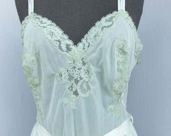 Layaway 5/1 Reserved, Vintage 50s/60s EXQUISITE Pale green Chiffon Nightgown by Vanity Fair, Medium, 36 Bust