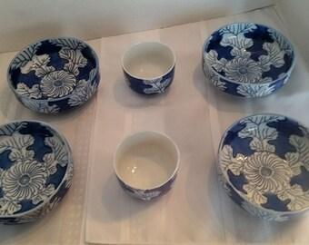 Set of 4 Blue Leaf Bowls and 2 Blue Leaf Cups