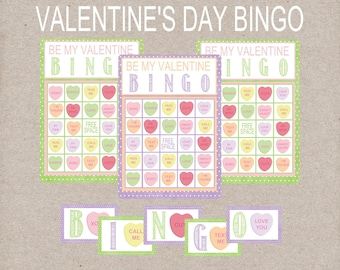 Be My Valentine BINGO Game. Conversation Heart BINGO. Includes 12 Game Cards, 60 Calling Cards, & 1 Call Sheet. Instant Digital Download