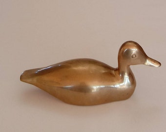 Vintage Brass Duck -  Solid Brass Duck  - Vintage Duck - Water Bird - Brass Bird - Brass Bookend