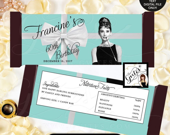 "Breakfast Themed Birthday Party Audrey Hepburn Party 60th Candy Bar Wrapper, chocolate wrapper, PRINTABLE {2 Per/Sheet 5.25 x 5.75""}"