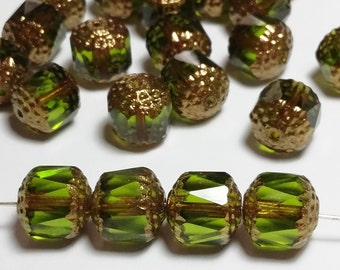 6pcs Olive Green Cathedral beads - Czech Glass Metallic Gold - 10mm - GB223