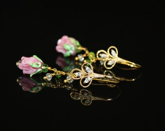 Light Pink Rose Tulip Flower Lampwork Bead with Green and White Crystal Gold Plated Cluster Earring