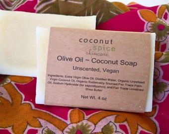 Sensitive Skin Soap ~ Unscented Bar Soap ~ Scent Free Soap ~ Olive Oil Soap ~ Coconut Soap ~ Fragrance Free Soap ~ Cold Process Soap