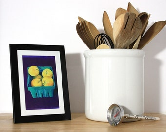 Framed Yellow Plums Mini giclee print. Local food. Farmers market. Art from original oil painting. Yellow, dark purple, teal.