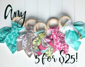 Any 5 bandana bibs and/or wood bunny ear teething rings for 25.00 and Free Shipping! Bandanna Bib and Teether